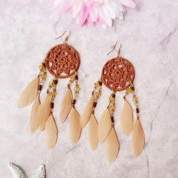 Ethnic Style Dreamcathcer Feather Earrings