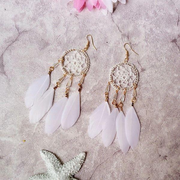 Outlet Dreamcatcher Feather Boho Earrings