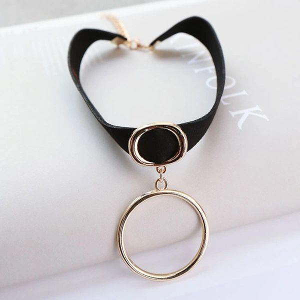 Fashion Ribbon Ring Pendant Short Necklace