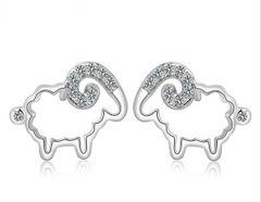 Korean Design Sheep Shape Silver Earrings