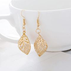 Hollow Out Metal Leaf Zircon Earrings