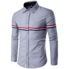 Korean Stripe Decorated Turndown Collar Men Shirt