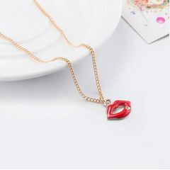 Red Lips Pendant With Mental Necklace