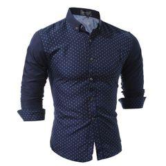 Business Men Dots Long Sleeve Dress Shirt