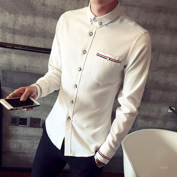 Fashion Men's Cotton Stand Collar Shirt