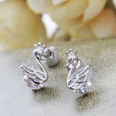 Goose Animals Pure Silver Diamond Earrings