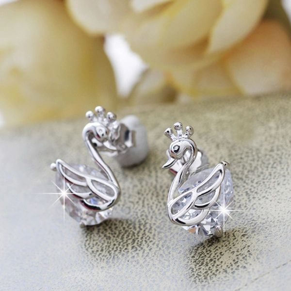 Goose Animals Pure Silver Diamond Earrings