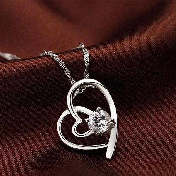 Heart-Shape Diamond Pure Silver Necklaces