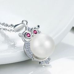 Pearl Owl Animal Pure Silver Pendant Necklaces