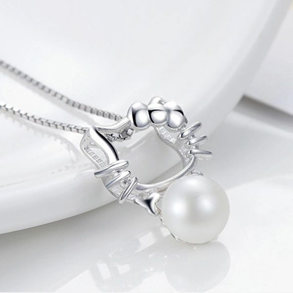 Pearl Hallo Kitty Sweet Pure Silver Pendant Necklaces