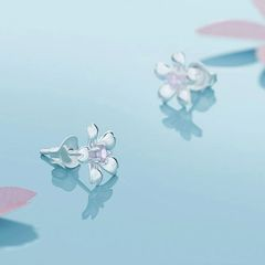 Cherry Blossom Flowers Pure Silver Romantic Earrings