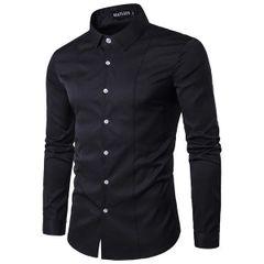 Casual Solid Turndown Collar Men Shirt