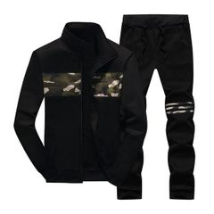 Cheap Camouflage Decorated Stand Collar Zipper Sport Suit