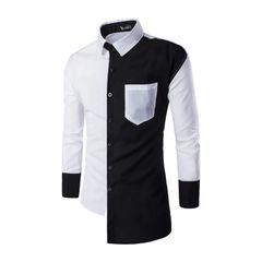 Outlet Color Block Turndown Collar Men Shirt