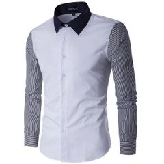 Korean Stripe Patchwork Turndown Collar Business Shirt