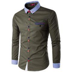 Chic Stripe Decorated Turndown Collar Men Shirt