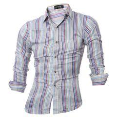 Wholesale Cheap Stripe Turndown Collar Men Shirt