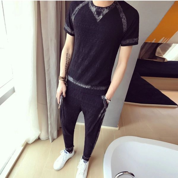 Black Print T-Shirt Long Pants Sport Suit