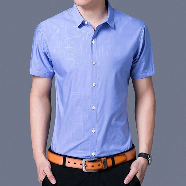 Cotton Short Sleeve Loose Shirt for Man (3-4 Days Delivery)