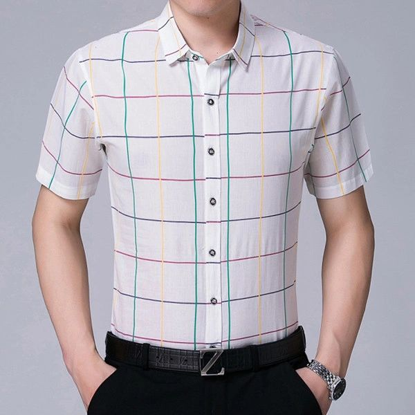 Colorful Plaid Fashion Man Loose Shirt(3-4 Days Delivery)