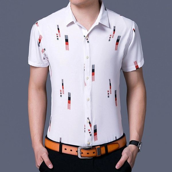 Teenager Style Geo Prints Chic Man Shirt(3-4 Days Delivery)