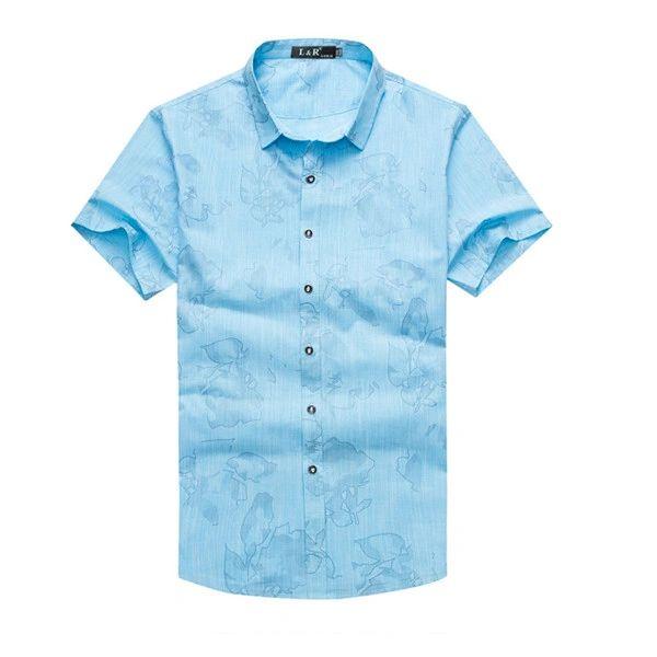 Floral Prints Button Down Man Dress Shirt(3-4 Days Delivery)