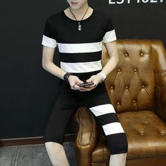 Black and White O Neck Sport Suit