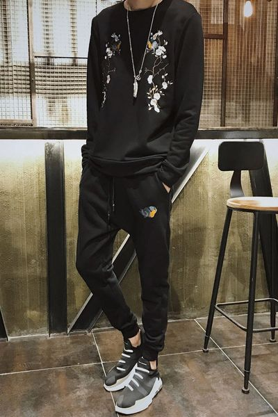 Black Floral Embroidered Men Activewear