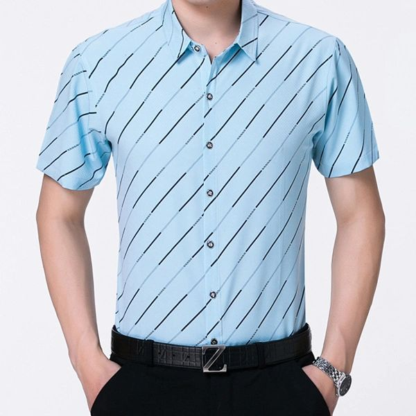 Stripe Mature Causal Simple Design Men Shirt(3-4 Days Delivery)