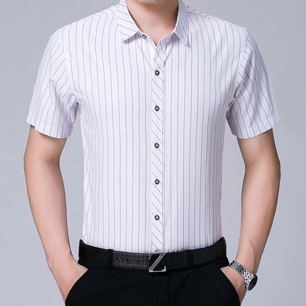 Stripe Business Mature Men Shirt(3-4 Days Delivery)