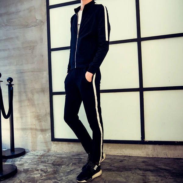 Black Stand Collar Zipper Men Sport Suit