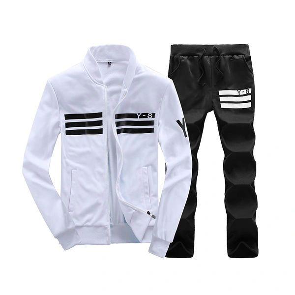 Cheap Stripe Decorated Stand Collar Men Sport Suit
