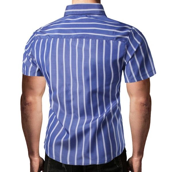 Stripe Single Breasted Turndown Collar Men Shirts