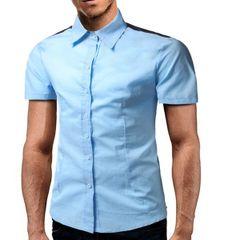 Shoulder Patchwork Turndown Collar Solid Men Shirts
