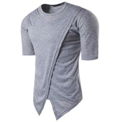 Bifurcation Hem Solid Fashion Men Shirts