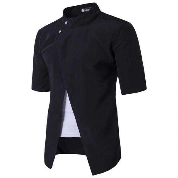 Stand Collar Bifurcation Hem Men Shirts