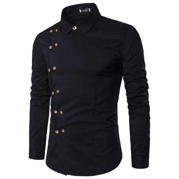Double Breasted Turndown Collar Men Shirts