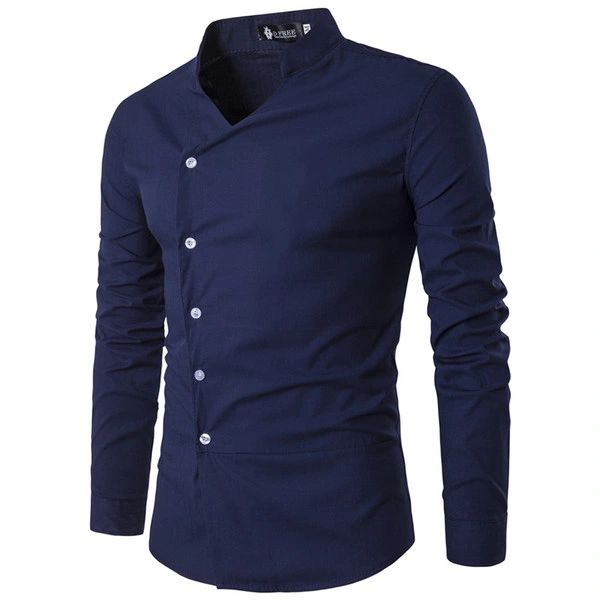 Stand Collar Single Breasted Men Shirts