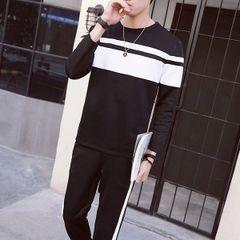 Color Block Pullover Hoodies Pocket Long Pants