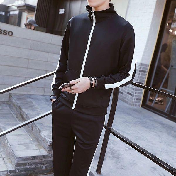 Brief Style Stand Collar Zipper Men Sport Suit