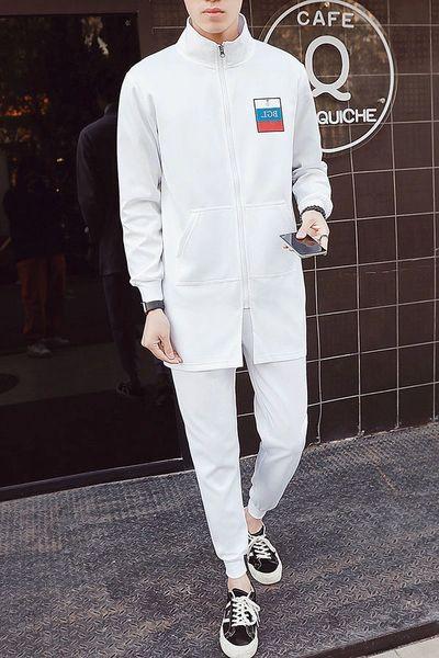 Spring Stand Collar Zipper Coat Pocket Long Pants