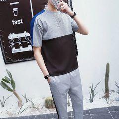Cheap Color Block Short Sleeve Men Sport Suit