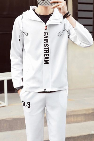 Spring Letter Hooded Collar Zipper Men Sport Suit