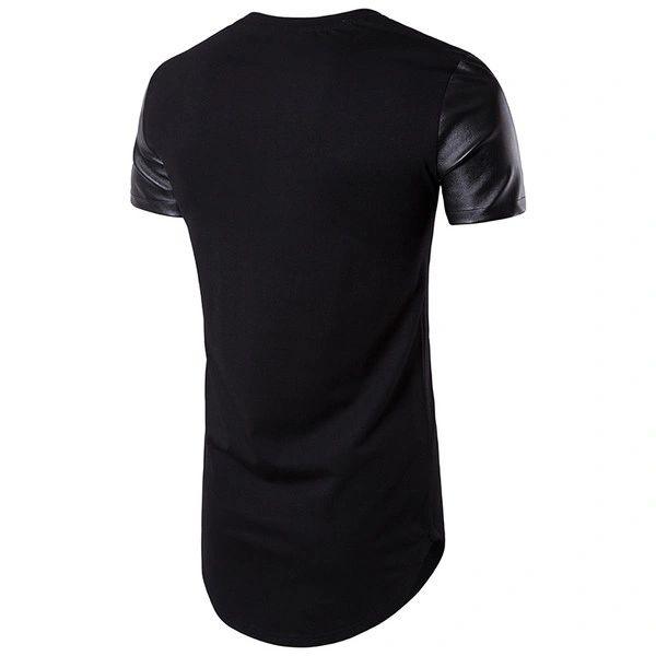 Faux Leather Contrast Long T-Shirt