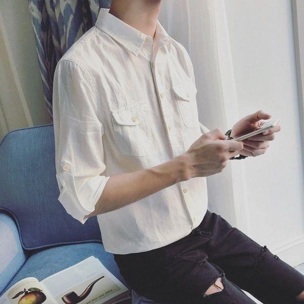 White Button Closed Linen Cotton Shirts