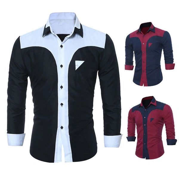 Design Color Block Single Breasted Shirts Men