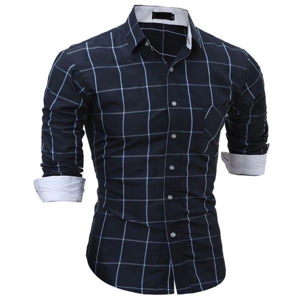 Hot Sale Check Long Sleeve Dress Shirts for Men