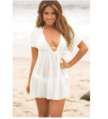 Short Sleeve See-through Beach Dresses