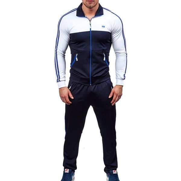 Color Block Long Sleeve Zipper Men Sport Suit