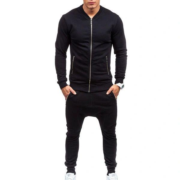 Wholesale O Neck Zipper Black Sport Suit